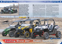ATV&QUAD Magazin 2013/03-04, Seite 24-33, Vergleichstest Side-by-Sides, Can-Am Maverick 1000 vs. Arctic Cat WildCat 1000 vs. Polaris RZR XP 900: Casting-Show der Super-Sportler